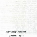 Mayday, poems, Privately Printed in London: 1974
